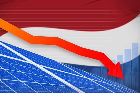 Netherlands solar energy power lowering chart, arrow down  - modern energy industrial illustration. 3D Illustration Stok Fotoğraf