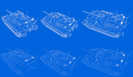 blue print of outlined isolated 3D modern tank with not real design, highly detailed tank forces concept - military 3D Illustration