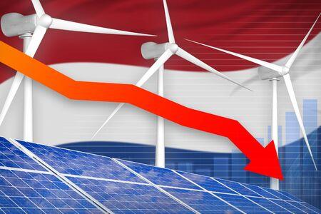 Netherlands solar and wind energy lowering chart, arrow down  - renewable energy industrial illustration. 3D Illustration Stok Fotoğraf - 134852336