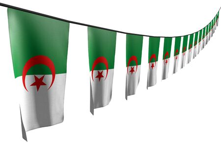 nice many Algeria flags or banners hangs diagonal with perspective view on rope isolated on white - any occasion flag 3d illustration Stok Fotoğraf - 134852356