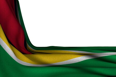 pretty isolated mockup of Guyana flag hanging diagonal on white with empty place for text - any celebration flag 3d illustration Stok Fotoğraf - 134852389