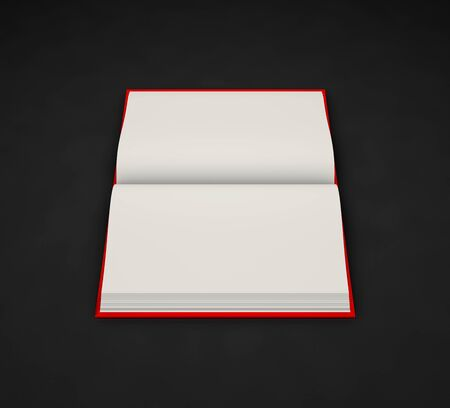 simple very high resolution red book that is fully open, symbol of knowledge isolated on black background - object 3d illustration