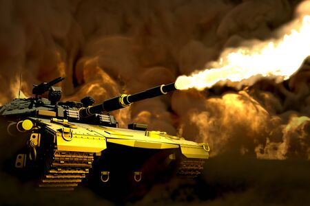 forest colored modern tank with not existing design at war firing with battlefield around, veterans day concept - military 3D Illustration Stok Fotoğraf - 134852390