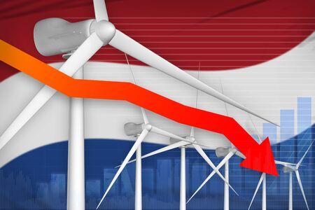Netherlands wind energy power lowering chart, arrow down  - green energy industrial illustration. 3D Illustration
