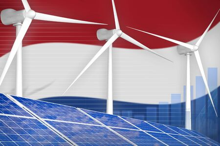 Netherlands solar and wind energy digital graph concept  - alternative energy industrial illustration. 3D Illustration Stok Fotoğraf - 134852392