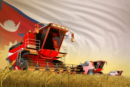 industrial 3D illustration of agricultural combine harvester working on wheat field with Nepal flag background, food production concept