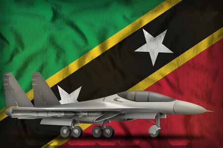 fighter, interceptor on the Saint Kitts and Nevis flag background. 3d Illustration Stok Fotoğraf - 134852397