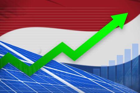 Netherlands solar energy power rising chart, arrow up  - green energy industrial illustration. 3D Illustration Banco de Imagens - 134982849