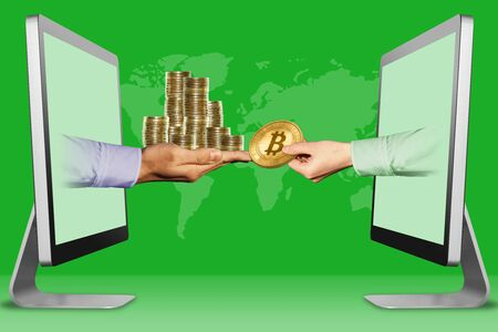 e-commerce concept, hands from laptops. pile of coins and hand with bitcoin . 3d illustration Stok Fotoğraf - 134852398