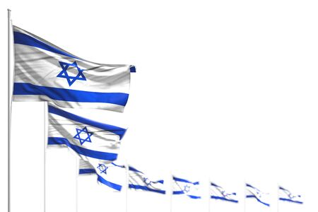 cute any celebration flag 3d illustration  - Israel isolated flags placed diagonal, photo with selective focus and space for your content