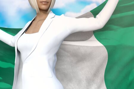 beautiful business woman is holding Nigeria flag in her hands behind her on the blue sky background - flag concept 3d illustration Stok Fotoğraf - 134852400