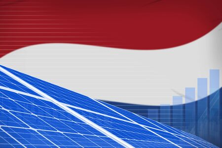 Netherlands solar energy power digital graph concept  - green energy industrial illustration. 3D Illustration Stok Fotoğraf - 134852401