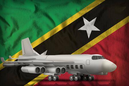 bomber on the Saint Kitts and Nevis flag background. 3d Illustration Stok Fotoğraf