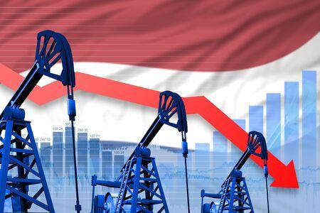 Netherlands oil industry concept, industrial illustration - lowering, falling graph on Netherlands flag background. 3D Illustration Stok Fotoğraf - 134852405