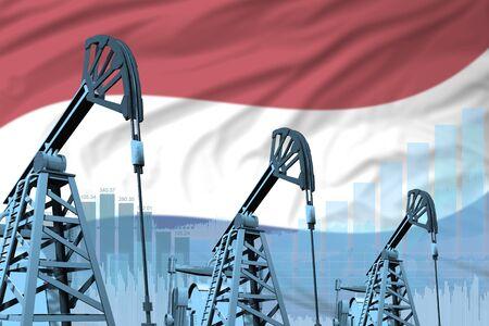 Netherlands oil and petrol industry concept, industrial illustration on Netherlands flag background. 3D Illustration Stok Fotoğraf - 134852406