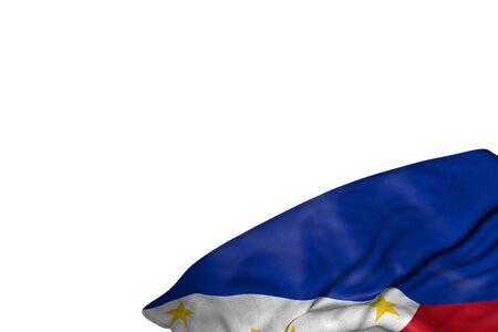 nice any feast flag 3d illustration  - Philippines flag with large folds lay in bottom right corner isolated on white