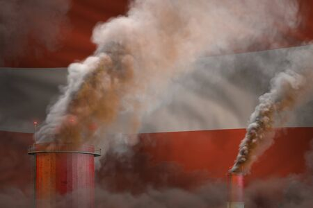 Global warming concept - heavy smoke from industry pipes on Austria flag background  - industrial 3D illustration