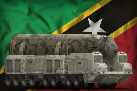 intercontinental ballistic missile with city camouflage on the Saint Kitts and Nevis flag background. 3d Illustration Stok Fotoğraf - 134852460