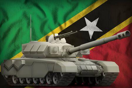 heavy tank on the Saint Kitts and Nevis flag background. 3d Illustration Stok Fotoğraf - 134852471