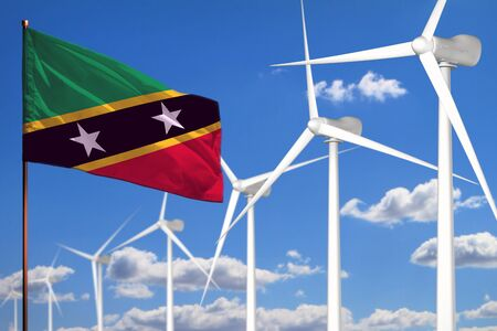Saint Kitts and Nevis alternative energy, wind energy industrial concept with windmills and flag - alternative renewable energy industrial illustration, 3D illustration Stok Fotoğraf - 134852480