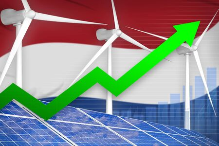 Netherlands solar and wind energy rising chart, arrow up  - alternative energy industrial illustration. 3D Illustration Stok Fotoğraf - 134852483