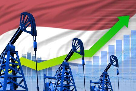 Netherlands oil industry concept, industrial illustration - growing graph on Netherlands flag background. 3D Illustration Stok Fotoğraf