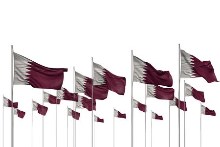 nice many Qatar flags in a row isolated on white with empty place for your text - any occasion flag 3d illustration