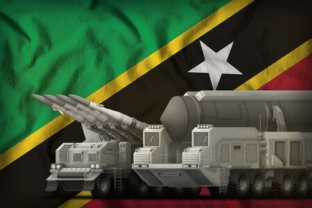 rocket forces on the Saint Kitts and Nevis flag background. Saint Kitts and Nevis rocket forces concept. 3d Illustration