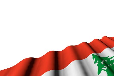cute shining flag of Lebanon with large folds lay in right bottom corner isolated on white - any feast flag 3d illustration