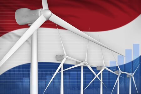 Netherlands wind energy power digital graph concept  - renewable energy industrial illustration. 3D Illustration