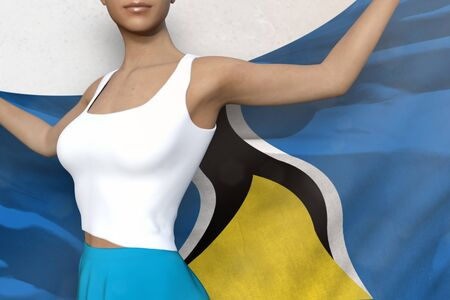 cute woman in bright skirt is holding Saint Lucia flag in her hands behind her on the white background - flag concept 3d illustration