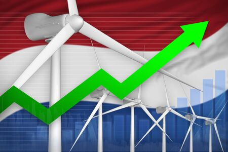 Netherlands wind energy power rising chart, arrow up  - green energy industrial illustration. 3D Illustration