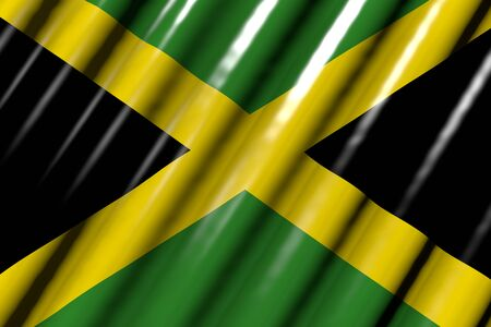 beautiful shiny - looking like plastic flag of Jamaica with big folds - any holiday flag 3d illustration