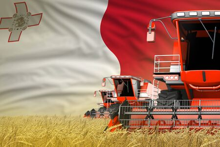 3 red modern combine harvesters with Malta flag on wheat field - close view, farming concept - industrial 3D illustration Banco de Imagens - 134983162