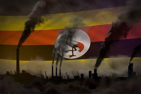 dense smoke of plant chimneys on Uganda flag - global warming concept, background with place for your text - industrial 3D illustration Stock Illustration - 135337093