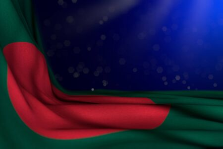 pretty labor day flag 3d illustration  - dark picture of Bangladesh flag lying flat diagonal on blue background with bokeh and free space for text