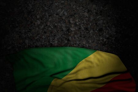 wonderful dark illustration of Congo flag with large folds on dark asphalt with empty space for content - any feast flag 3d illustration Фото со стока