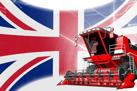 Agriculture innovation concept, red advanced rural combine harvester on United Kingdom (UK) flag - digital industrial 3D illustration