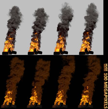 trouble concept, high resolution pile or barricade of burning car tires isolated - 3D illustration of objects