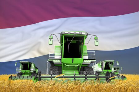 four light green combine harvesters on wheat field with flag background, Netherlands agriculture concept - industrial 3D illustration