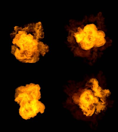 4 various pictures of fire explosion - detailed bomb blast concept isolated on black, 3D illustration of objects