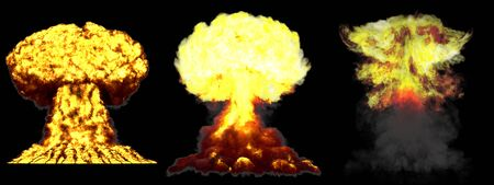 3 huge very highly detailed different phases mushroom cloud explosion of fusion bomb with smoke and fire isolated on black - 3D illustration of explosion Stockfoto