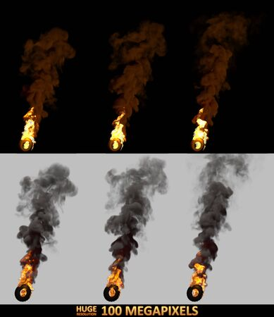 protest concept, high detail burning rolling car tires isolated - 3D illustration of objects