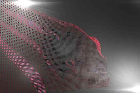 cute digital picture of Albania flag made of dots waving on grey with empty space for your content - any feast flag 3d illustration 스톡 콘텐츠