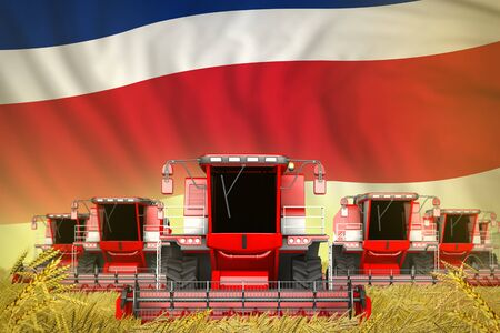 a lot of red farming combine harvesters on grain field with Costa Rica flag background - front view, stop starving concept - industrial 3D illustration Zdjęcie Seryjne
