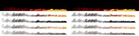 Speed concept - Isolated burning trail of fast moving car wheel rendered with white and black smoke on various backgrounds, 3D illustration of objects