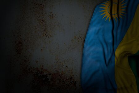 cute dark picture of Rwanda flag with big folds on rusty metal with empty space for text - any feast flag 3d illustration