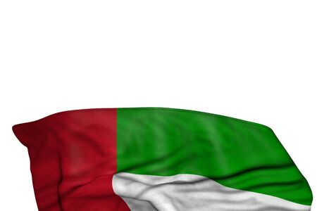 beautiful United Arab Emirates flag with large folds lie in the bottom isolated on white - any occasion flag 3d illustration