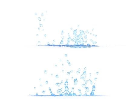 2 side views of nice water splash - 3D illustration, mockup isolated on white - creative still