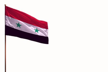 Fluttering Syrian Arab Republic flag isolated, mockup with the place for your text on white background. Banco de Imagens - 134980589